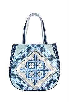 Mint & Navy Blue Handblock Printed Embroidered Tote Bag by Neonia