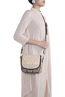 Peach Handblock Printed & Embroidered Crossbody Sling Bag by Neonia