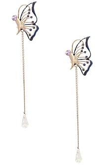 Rose Gold Finish Butterfly Motif Earrings by Nepra By Neha Goel