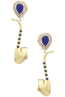 Rose Gold Finish Saxophone Motif Earrings by Nepra By Neha Goel