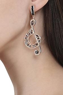 Rose Gold Finish Music Note Motif Earrings by Nepra By Neha Goel