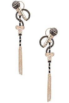 Rose Gold Finish Microphone Motif and Tassel Earrings by Nepra By Neha Goel