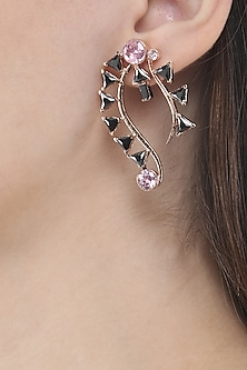 Rose Gold Finish Pink and Black Stone Earrings