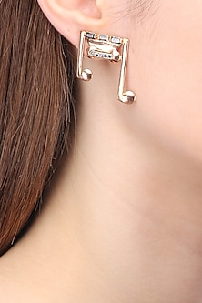 Rose Gold Finish Zircons and Baguettes Earrings by Nepra By Neha Goel
