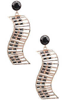Rose Gold Finish Piano Motif Earrings by Nepra By Neha Goel