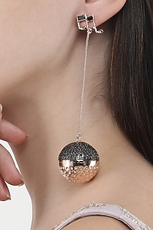 Rose Gold Finish Disco Ball and Music Note Motif Earrings