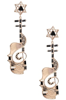 Rose Gold Finish Guitar Motif Dangler Earrings by Nepra By Neha Goel