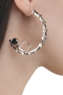 Rose Gold Finish Human Figure and Music Note Motif Earrings