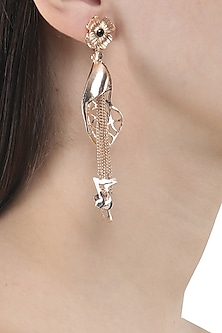 Rose Gold Finish Leaf and Music Note Motif Earrings
