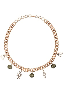Rose Gold Finish Music Note Motif Choker Necklace by Nepra By Neha Goel