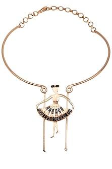 Rose Gold Finish Dancing Figure Choker Necklace by Nepra By Neha Goel
