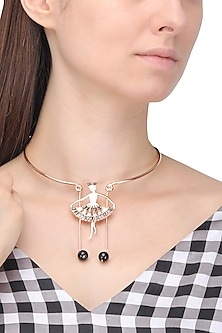 Rose Gold Finish Dancing Figure Choker Necklace by Nepra By Neha Goel