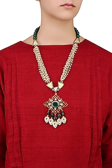 Gold Finish Kundan, Zircons and Emerald Stone Flower Pendant Necklace by Nepra By Neha Goel