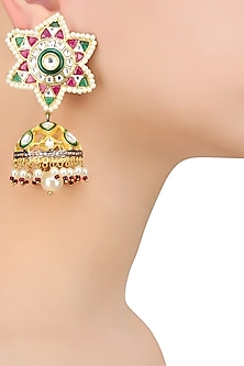 Gold Finish Ruby and Emerald Stone Flower Jhumki Earrings by Nepra By Neha Goel