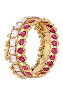 Gold Plated Kundan, Ruby and Ghungroo Handcuff by Nepra By Neha Goel
