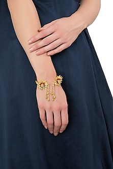 Gold Plated Ruby Floral Handcuff