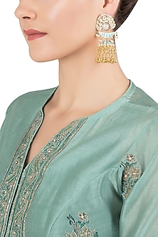 Gold Plated Kundan and Enamel Jhumki Earrings by Nepra By Neha Goel