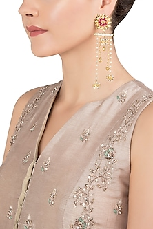 Gold Plated Kundan Drop Earrings by Nepra By Neha Goel