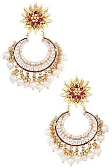 Gold Plated Kundan, Ruby and Pearl Chandbali Earrings by Nepra By Neha Goel