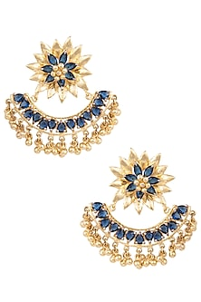 Gold Plated Tanzanite Stone Crescent Earrings by Nepra By Neha Goel