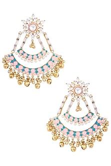 Gold Plated Kundan Cresent Earrings by Nepra By Neha Goel