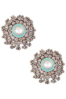Gold Plated Kundan and Enamel Earrings by Nepra By Neha Goel