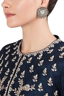 Gold Plated Kundan and Enamel Earrings by Nepra By Neha Goel