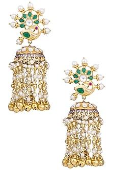 Gold Plated Kundan and Emerald Stone Jhumki Earrings by Nepra By Neha Goel