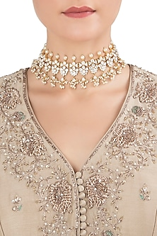 Gold Plated Pearls and Kundan Choker Necklace