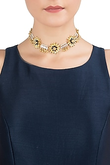 Gold Plated Floral Choker Necklace