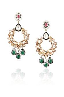 Gold plated kundan and emerald stone pear chandbali earrings by Nepra By Neha Goel