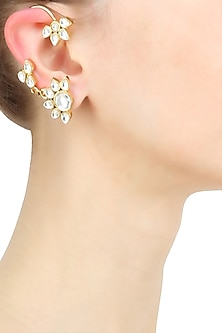 Gold Plated Kundan Five Petal Earcuffs