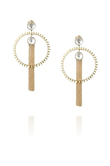 Gold plated spikes kundan chain earrings by Nepra By Neha Goel