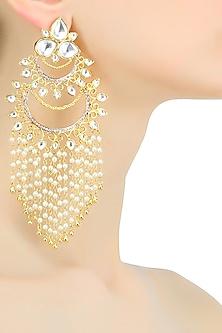 Gold plated kundan and pearl filigree chandbali earrings by Nepra By Neha Goel