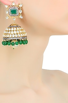 Gold plated kundan jhumki drop earrings by Nepra By Neha Goel