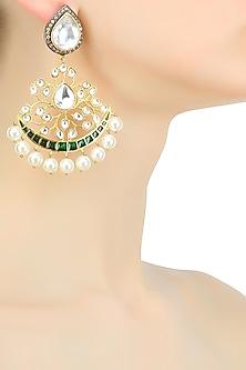 Gold plated kundan jali mughal earrings by Nepra By Neha Goel