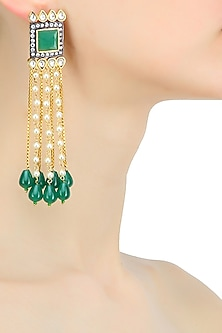Gold plated kundan and emerald waterfall earrings by Nepra By Neha Goel