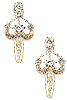 Gold Finish Kundan and Polkis Chandelier Earrings by Nepra By Neha Goel