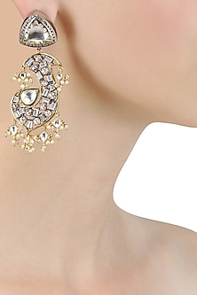Gold Finish Kundan and Baguettes Fish Shape Earrings