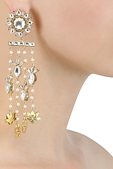 Gold Finish Kundan Flower Waterfall Earrings