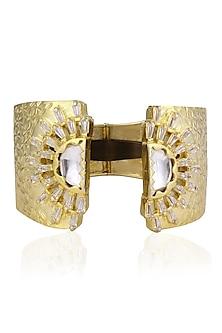 Gold Finish Kundan and Thukai Work Encrusted Cuff by Nepra By Neha Goel