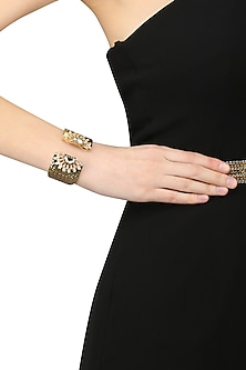 Gold Finish Kundan and Thukai Work Encrusted Cuff