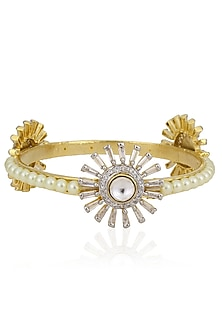 Gold Finish Three Circular Loops Pearl Bangle by Nepra By Neha Goel