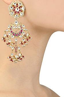 Gold Finish Kundan, Pearl and Ruby Chandbali Earrings by Nepra By Neha Goel
