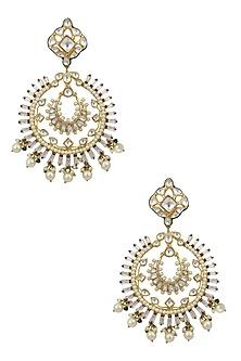 Gold Finish Jadau and Kundan Meenakari Work Statement Chandbali Earrings by Nepra By Neha Goel