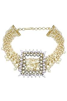 Gold Finish Zircons and Jadau Kundan Choker Necklace by Nepra By Neha Goel