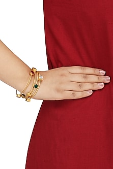 Set Of 4 Gold Plated Stone Bangles by Nepra by Neha Goel