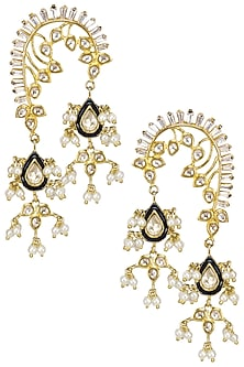 Gold Plated Kundan and Blue Stone Earrings by Nepra by Neha Goel