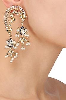 Gold Plated Kundan and Blue Stone Earrings by Nepra by Neha Goel