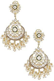 Gold Plated Kundan and Pearl Crescent Earrings by Nepra by Neha Goel